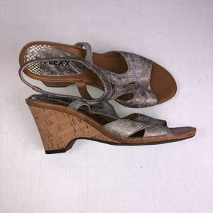 The Flexx Metallic Snakeskin 3 Inch Wedge Sandals